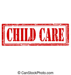 Child Care-stamp - Grunge rubber stamp with text Child...
