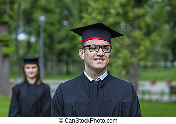 Portrait of a Young Man in the Graduation Day