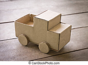 miniature truck made from corrugated