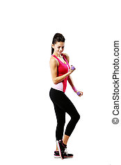 Young smiling woman with dumbbells working out isolated over...