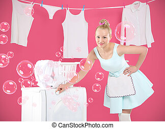 Laundry , hanging , sorting - Young housewife overwhelmed by...