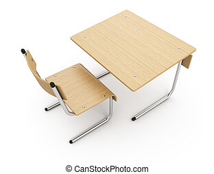 School desk isolated on white background 3d rendering...