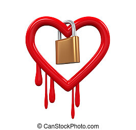 Heartbleed Bug and Padlock isolated on white background. 3D...