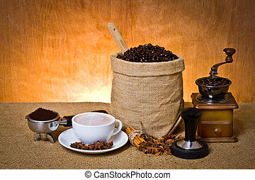 coffee set - set of coffee, cup of coffee,ground coffee in...