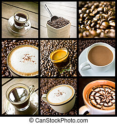 coffee collage  - background of coffee collage