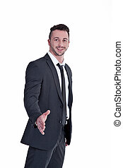 Businessman looks friendly and sufficient hand