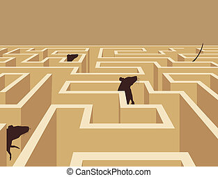 Rat maze - Editable vector illustration of rats in a maze