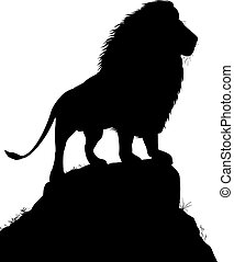 Majestic lion - Editable vector silhouette of a male lion...
