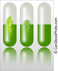 Green alternative medication concept. Full editable vector...
