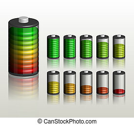 Battery Ten different status of charge Full editable vector...
