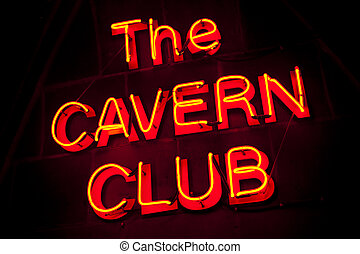 The Cavern Club in Liverpool - The neon sign for the...