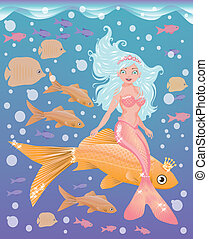 Young mermaid girl with golden fish, vector illustration