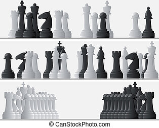 Black and white chess pieces. - Set horizontal banners of...