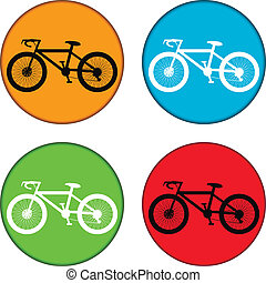 Bicycle icon on round internet button