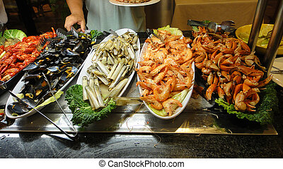 Food seafood restaurant on the buffet