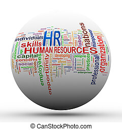 3d hr Human resources ball tags wordcloud - 3d Illustration...