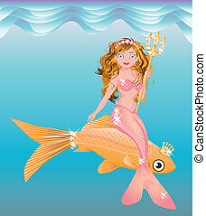 Little mermaid girl with trident, vector illustration