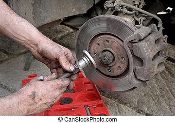coche, mecánico, trabajo, disco, frenos