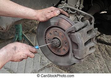 disco, coche, trabajo, mecánico, frenos