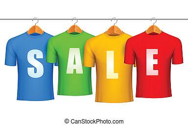 Sale concept. - Four color t-shirts with sale announcement.
