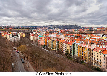 Prague panorama view from Vysehrad, Shallow depth of field,...