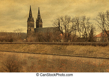 Vysehrad castle, Prague, photo stylized antique postcard,...