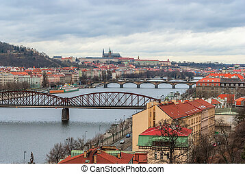 Prague panorama view from Vysehrad, Czech Republic