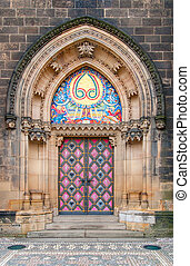 Vintage door. Entrance to the cathedral at Vysehrad, Prague.