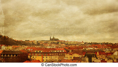 Prague panorama view from Vysehrad, photo stylized antique postcard