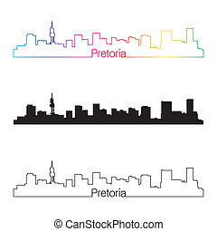 Pretoria skyline linear style with rainbow in editable...