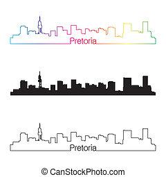 Pretoria skyline linear style with rainbow in editable...