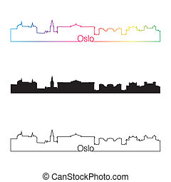 Oslo skyline linear style with rainbow in editable vector...