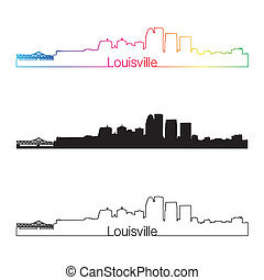 Louisville skyline linear style with rainbow in editable...