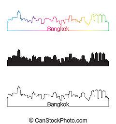 Bangkok skyline linear style with rainbow in editable vector...