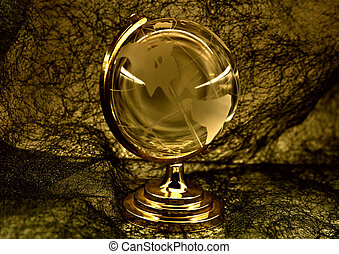 glass globe against a fibrous fabric