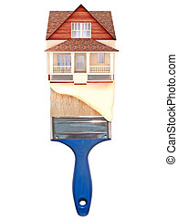 House painting concept. House on top of a blue paintbrush...