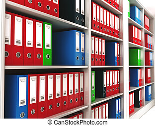 Office ring binders. - Office ring binders on a bookshelf...