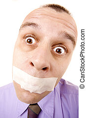 Shut up and go to work! - Confused businessman with taped...