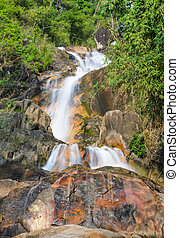Evergreen forest waterfall in Chanthaburi, Thailand