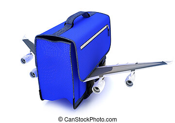 Traveling blue suitcase with wings,airline travel concept on...