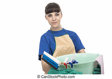 Caucasian Cleaner Maid Woman With Cleaning Gear