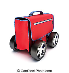 Traveling suitcase on wheels. - Traveling suitcase on...