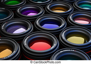 Camera Lenses. - Camera Lenses photography theme background.