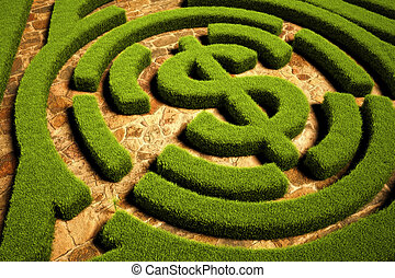 Path to Financial Freedom, Hedgerow maze leading to a dollar...