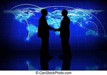 Global business, silhouette of a partner agreement in a...