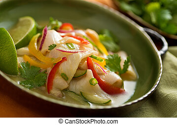 Ceviche - A freshly made white fish ceviche with red onion,...