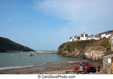 Port Isaac Beach on spring morning - Port Isaac Beach, a...