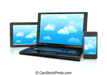 Cloud computing. - Cloud computing, laptop,smartphone and...