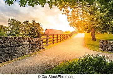 Country alley - Scenic alley in Kentucky countryside in...