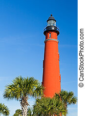 Ponce Inlet Light and Palms - Flanked here by palms, the...
